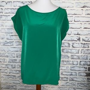 Zara green roll sleeve boxy top